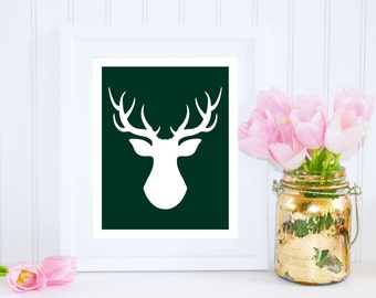 Deer Print, Deer Silhouette, Deer Print, Green Art Print Poster, Deer Wall Art, Green Nursery Print, Holiday Decor, Printable Art