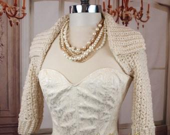 Ivory Wedding Shrug With Collar Off White Crochet Shrug Bridal Jacket Bolero Bridesmaids Shoulder Cover