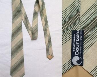 Mens striped tie cravate, cream & dark green stripey, french vintage retro cravat, courtelle tie