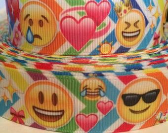 Emoticon Ribbon - 7/8 inch Grosgrain Ribbon- Craft Supply - Fun Emoticon - Grosgrain for DIY Crafts, Scrapbook, Bows