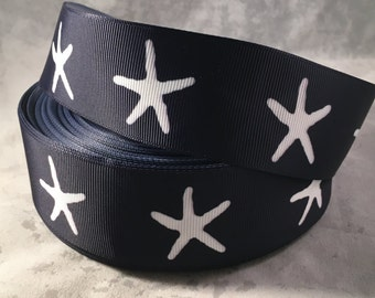 Starfish Ribbon - 1.5 Inch Grosgrain Ribbon- Navy Blue with White Starfish for Hairbows, crafting and more! 1.5 Inch Starfish Ribbon