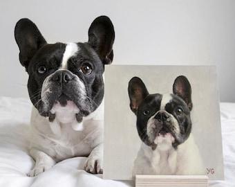 Custom Oil dog portrait. Pet portrait. Original oil painting. Commission painting. French Bulldog. Christmas gift. Wall decor. Home decor