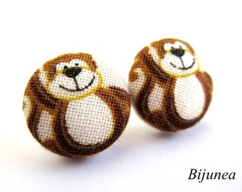 Monkey earrings - Brown Monkey stud earrings - Monkey posts - Monkey studs - Monkey post earrings sf804
