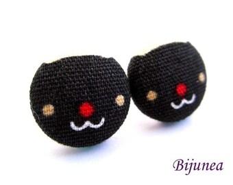 Cat earrings - Black cat stud earrings - Black cat studs - Cat posts -  Cat post earrings sf1133