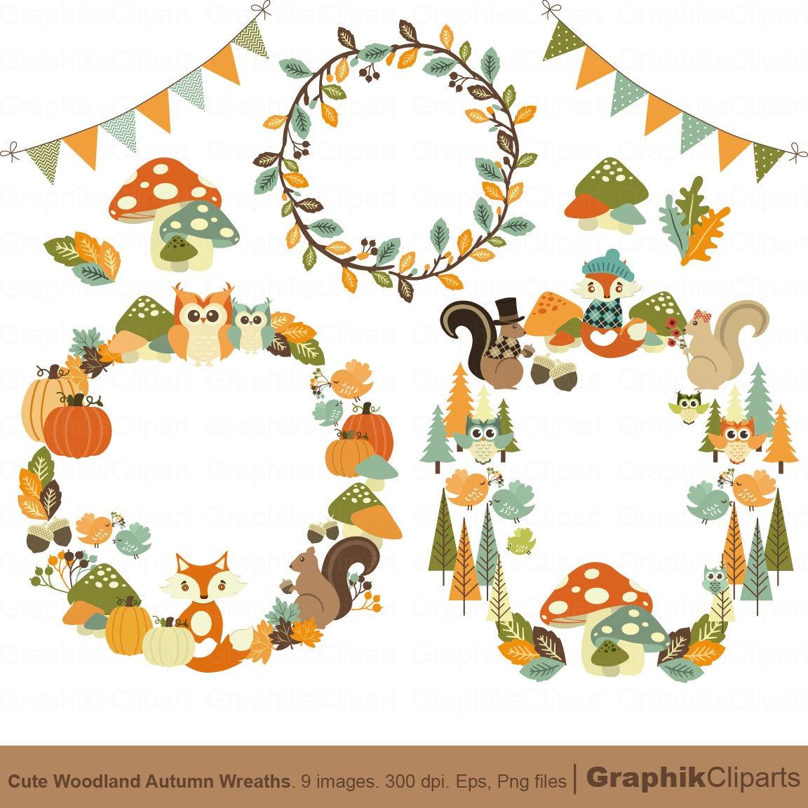Cute Autumn Wreaths Clip Art. Autumn Clip Art ...