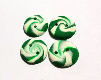 4 Green Peppermint Buttons, Christmas Buttons, Custom Buttons, Clay Buttons, Candy Buttons, Green Buttons, Large Swirl Buttons, Scarf Button