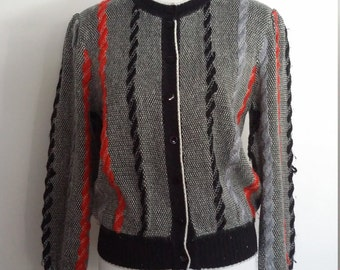 Red black sweater, M, L, black cardigan, cable knit cardigan, striped sweater, nautical sweater grey sweter, grey cardigan