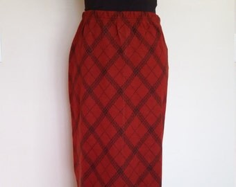 Fringe skirt, plaid skirt, rust skirt, red plaid skirt, stretch skirt, S, M, wool skirt, plaid maxi, black fringe skirt