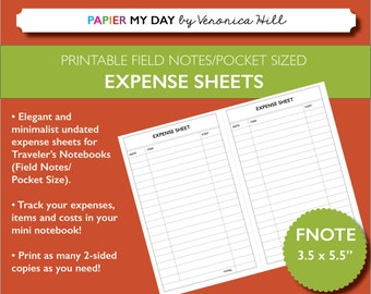 Printable Expense Sheets for Field Notes and Pocket Sized Travelers Notebooks