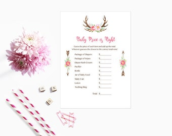Boho Price is Right Baby Shower Game, The Price is Right Baby Shower Game Pink Floral Deer Antler Instant Download  Printable235