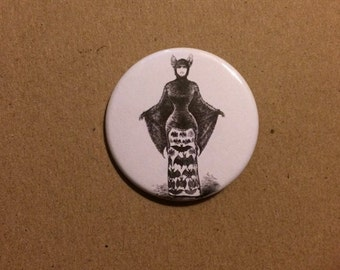 Victorian Bat Lady Pinback Button