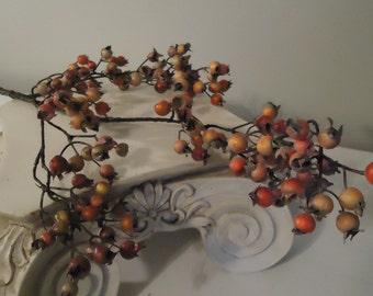 "35"" Berry Stem Red Burgundy Pumpkin Green Berry Stem DIY Floral Supplies Cottage Decor Small Artificial Berries #205A"