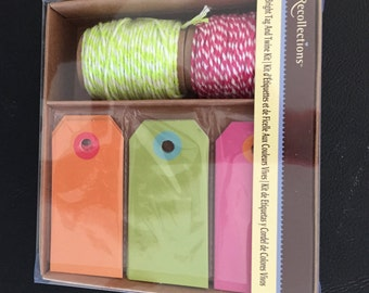 Tags and Twine Kit, 30 Bright Tags and 2 Rolls of Twine, Gift Tags, Gift Wrapping Tags, Pretty Packaging, Recollections