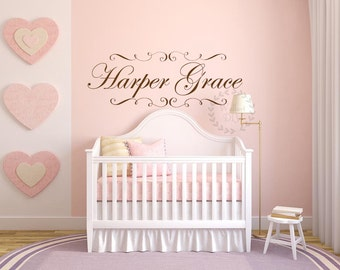 Name wall decals Nursery name wall sticker Vinyl name wall sticker Personalized vinyl name Elegant shabby chic frame wall decal