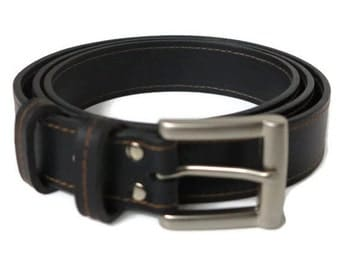 Edge Colured Stitch black leather belt with silver buckle