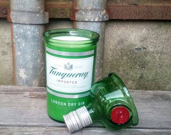 Tanqueray Gin Soy Candle, Recycled Green Glass Liquor Bottle