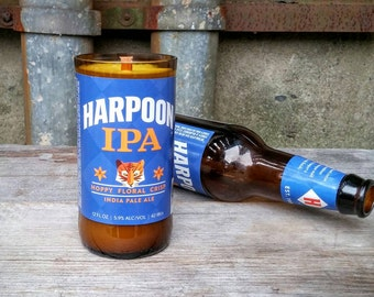 Harpoon IPA Beer Bottle Soy Wax Scented Candle