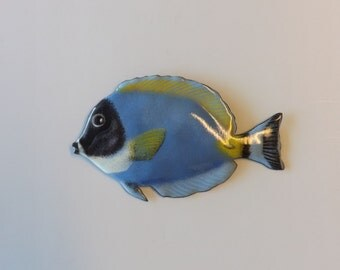 Enamel on Copper Powder Blue Tang (Surgeonfish, Surgeon Fish) Wall Sculpture, Indoor or Outdoor Art