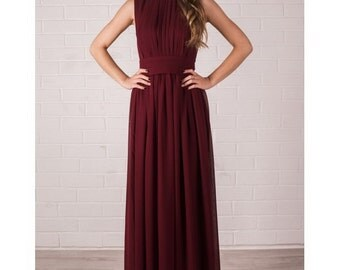 Floor Length Evening Dress Marsala. Chiffon Dress Bridesmaid.