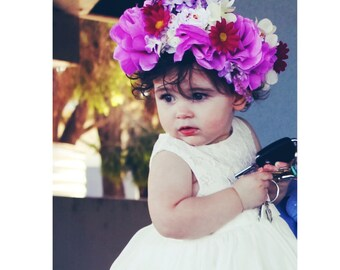 Purple Flower Halo - Floral Crown - Flower Headband - Purple Flower Headband - Boho Headband - Bohemian - Woodland Crown - Child Flower