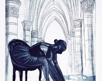 Balletteuse - arch - Church - dancer - original etching etching - aquatint - engraving - etching