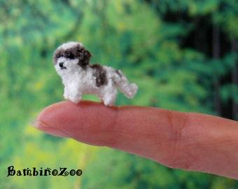 Mini Shih Tzu dog puppy - Miniature amigurumi tiny crochet dog - made to order - handmade. Comes with FREE handmade display box.