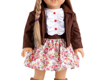 Urban Explorer - Doll Clothes for 18 inch Doll - Brown Motorcycle Jacket, Paperboy Hat, Dress and Boots