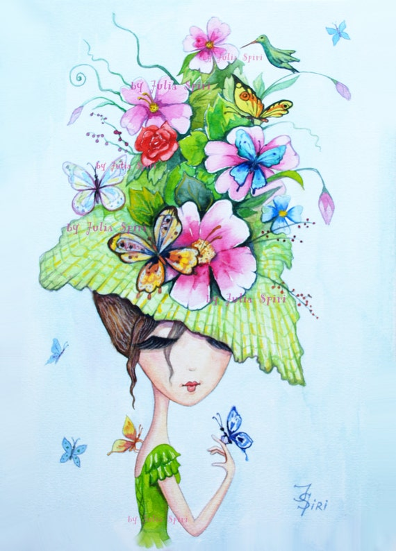 Digital Stamp, Digi stamp, Coloring, Hat stamps, Butterfly, Flowers stamp, Girl stamp, Fantasy. The Hat Collection. The Butterfly Hat