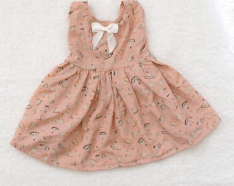 12-18 Month Little Pink Crayon / Pencil Shaving Baby Girl Flouncy Dress with Bow