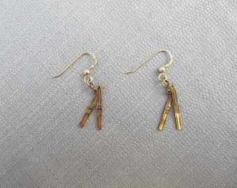 Vintage Gold Filled Ski Earrings