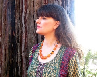 necklace Bakelite amber dark green agate artist handmade