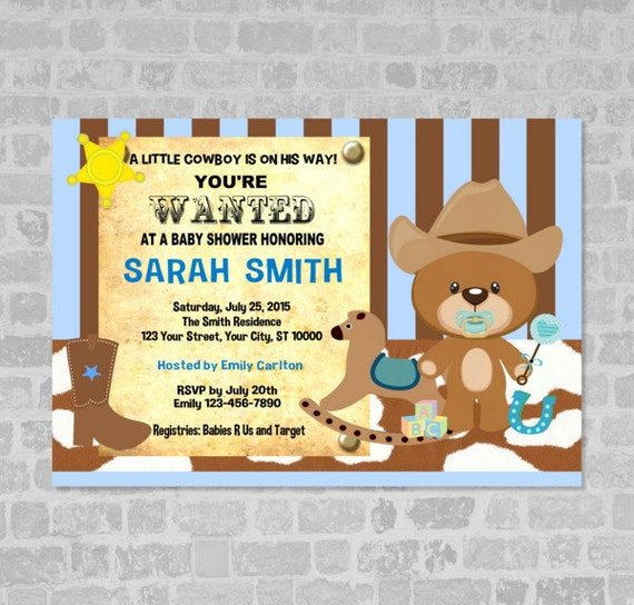 Cowboy baby shower invitation western cowboy wanted poster teddy il570xn filmwisefo Choice Image