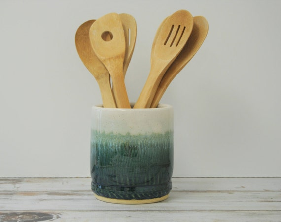 Small Utensil Holder Mermaid Kitchen Decor Decorative Pottery