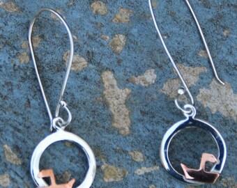 Dangle Earrings,Silver Earrings,Modern Earrings,Sterling Silver,Boat Design,Summer Collection,Hook Earrings,Silver Jewelry,Birthday Gift