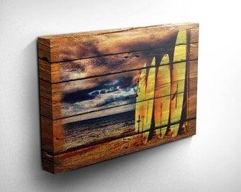 Surf Board, Surfer, Ocean, Wood Style Canvas Wall Art, Gift Ideas, Inspirational Art, Surfing Print