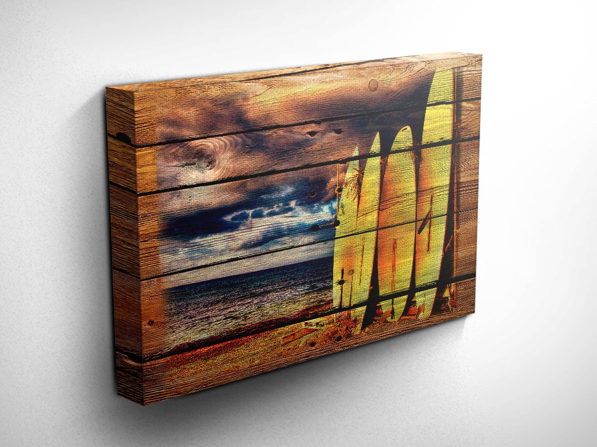 Surf Board, Surfer, Ocean, Wood Style Canvas Wall Art,