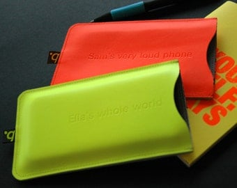 Neon Leather iPhone Sleeve (personalised)