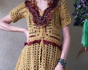 Sabby chic Tunic-Blouse/Hand crocheted Boho Style /Crochet top blouse tunic lace ocher short sleeve  FREE SHIPPING