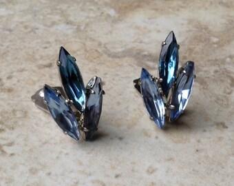 Blue Rhinestone Clip On Earrings Navette Cut