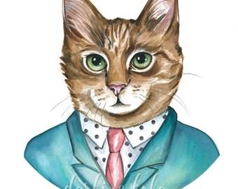 Cat Watercolor Painting - Print - Business Cat - Cat Art - Animal Art - Anthropomorphic - Cat Painting