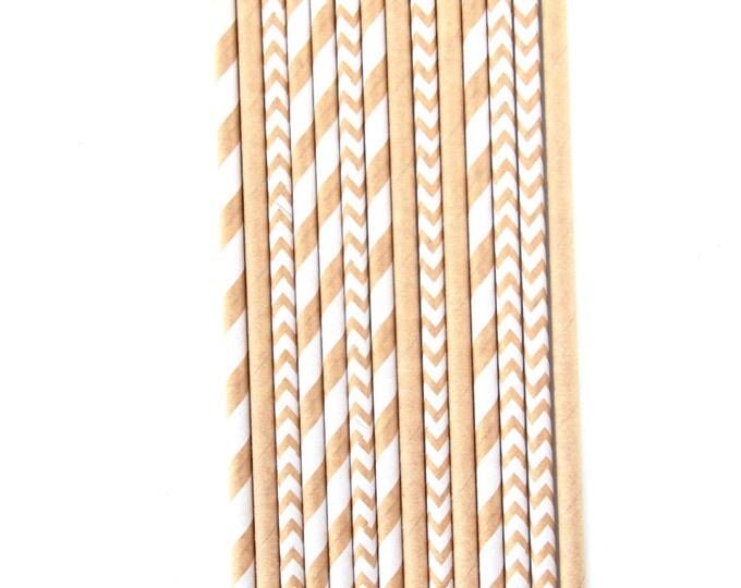 Kraft Brown and White Stripe Straw With Gold Flag, Paper Straw Kraft Brown Straw Gold Straw Flag Baby Shower or Wedding Straw Birthday Straw