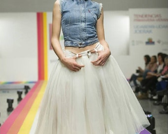 Recycled denim tulle skirt / skirt tulle in recycled cowboy - #017