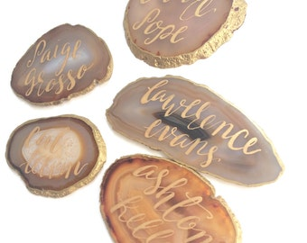 Brazilian Agate Place Cards, Calligraphy Place Cards, Wedding Place Cards, Beautiful Agate Stones, Natural Agate, Event Decor