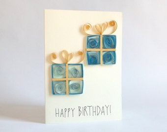 Birthday Card, Paper Quilled Card, Paper Quilling Birthday Presents, Quilled Presents, Quilling Card, Paper Quilling Card, Happy Birthday
