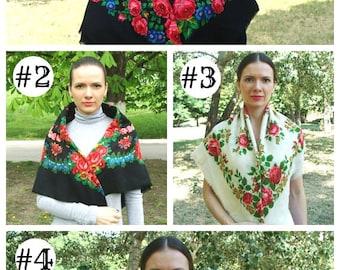 Vintage Ukrainian shawl, Russian shawl, Wool floral scarf, Black shawl, Floral scarf, made in USSR