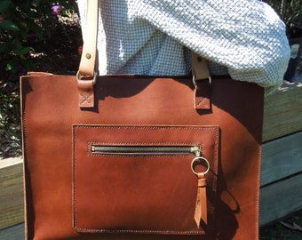 Tan Leather Tote with pockets and Veg Tan Straps