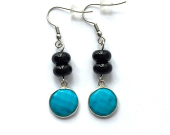 SALE 50% OFF - black onyx and turquoise earrings - onyx earrings - turquoise earrings - black onyx earrings - blue earrings