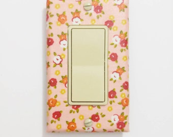 Pink floral light switch cover - Floral nursery wall plate - Pink flower nursery - switchplate - Pink nursery - Cottage chic bedroom decor