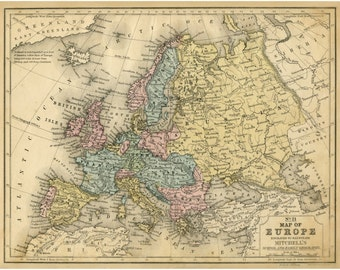 Europe Map, Map Art, Europe Map Print, Giclee Print, Maps, Vintage Map, Historic Map, Old Map, Map Art Prints, Map Wall Art, Map of Europe