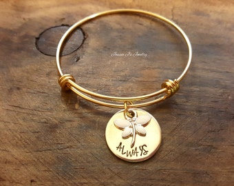 Handstamped Personalized Bangle, Dragonfly Bangle, NuGold Name Bangle, Persoonalized Gift for Her, Gift for Daughter, Gift for Granddaughter